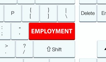 Employment red keyboard button