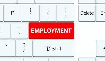 Employment red keyboard button
